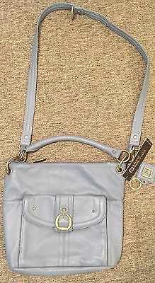 Stone Mountain Dusty Blue Sophia Leather Convertible Shoulder Bag   NWT