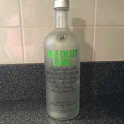 Absolut Lime Vodka  Empty Glass Bottle 1 Liter