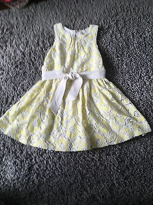 Stunning Yellow & white lace belted girls dress - NEXT - AGE 6 wedding occasion