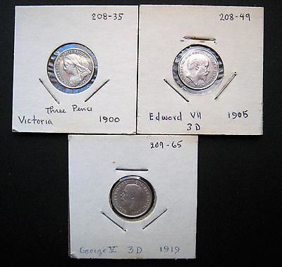 UK Great Britain Lot of 3 Sterling Silver Maundy Threepence Coins 1900,1905,1919