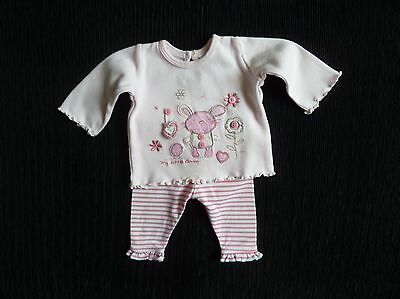 Baby clothes GIRL premature/tiny<7.5lb/3.4kg outfit mouse LS top/soft trousers