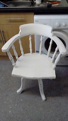 Shabby Chic Disressed Victorian Oak Swivel Office Chair