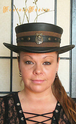 Steampunk Hat Pirate Freebooter Gold Hunter Skull Leather SHORT Top Hat 2 Tones