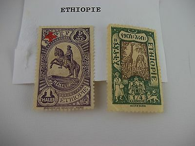 LOT of 2, 1919 and 1936 Ethiopia Postage Stamps, 1 Thaler, 1/4 Guerche Red Cross