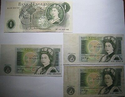 Great Britain Lot of 4 Bank of England One Pound Banknotes Notes
