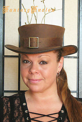 Steampunk Hat Victorian Leather Standard SHORT Top Hat with Belt