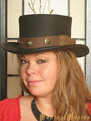 Steampunk Hat Victorian Leather Standard Top Hat with Belt and Conchos 2 Tones