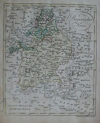 Original 1803 Map ELECTORATE OF BAVARIA Munich Regensburg Passau Danube Germany