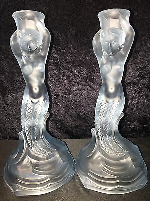 Vintage Fabulous 8 1/2 Inch Frosted Blue Glass Mermaid Candle Sticks