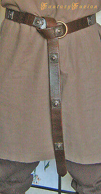 Medieval Celtic Lord Leather Ring Belt With Square Conchos