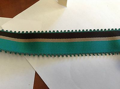 "10 Yards 1 1/2"" VINTAGE ANTIQUE Green and Black Stripe Grosgrain Ribbon FRENCH"