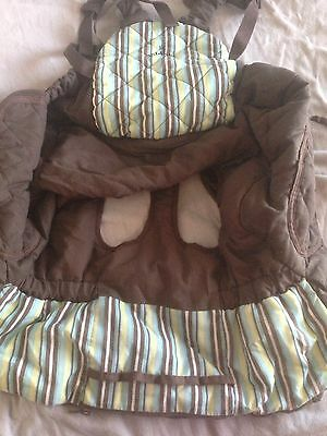 Baby Cart Cover Brown Neutral Stripe Shopping With Baby