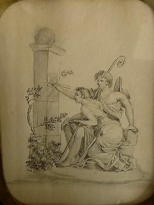 C19th French EROTIC Pencil Drawing SIGNED 1820 Original Frame+ LOVE NOTE ON BACK