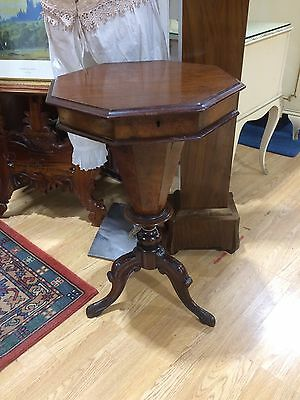 antique victorian trumpet shaped sewing/work table Walnut