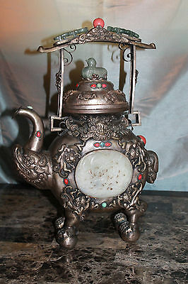 Rare Antique Silver Chinese Mongolian Dragon Immortal Teapot Jade Carved Qing