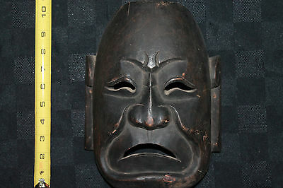 Authentic Mask Spirit Hand Painted Carved Wood Art Indonesian Folk Satan