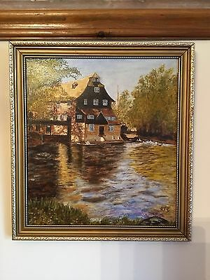original oil painting Of Houghton Mill, Huntingdonshire By R.P.R