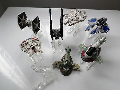 Star Wars Diecast Miniature Ships Bundle With Stands Millennium Falcon & More