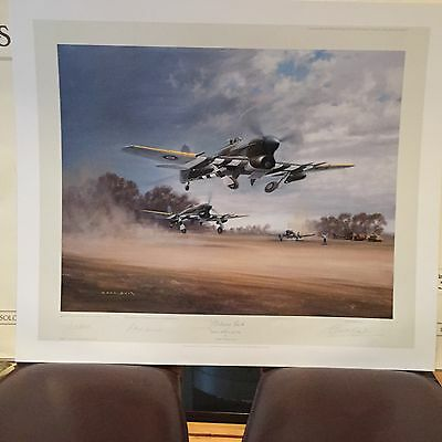 Gerald Coulson Signed Print Striking Back Typhoons At Normandy