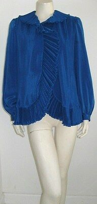 "Oscar De La Renta ""at Home"" Blue Pleated Top Lounge Wear Size 12"