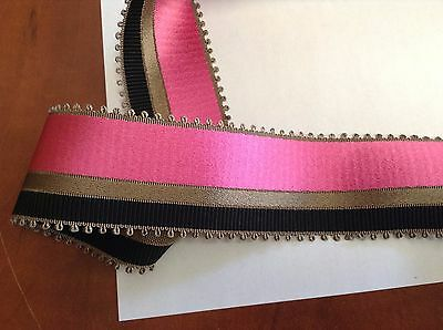 "10 Yards 2"" VINTAGE ANTIQUE Grey Black and Pink Stripe Grosgrain Ribbon FRENCH"