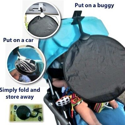 Sun Shade Parasol UPF50+ from My Buggy Buddy fits car & buggy, universal clip on