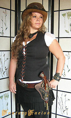Steampunk Pirate LARP Victorian Industrial Flintlock Gun Single Leather Holster
