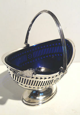 Vintage Silver Plated Sauce Dish with Swivel Handle & Blue Glass Liner + Spoon