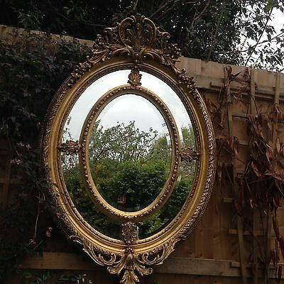 French Carved Gilt / Gold Large Oval Mirror
