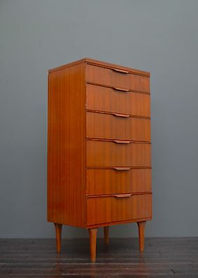 Vintage Retro Mid Century Austinsuite Teak Tallboy Chest Of Drawers