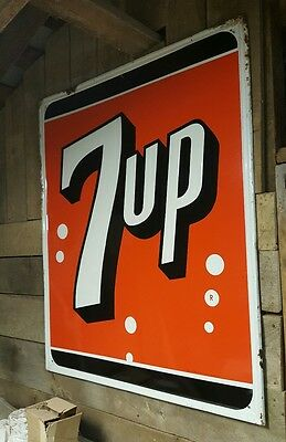 Large Vintage 7UP Sign 5'X3.5 1964 Metal Not Porcelain FREE SHIPPING!!! CHEAP!!!