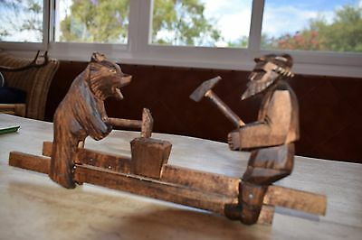 OLD BLACK FOREST CARVED MOVABLE TOY BEAR  c1900