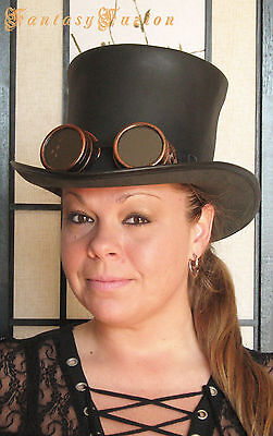 Steampunk Hat Cyber Goggles Futurist Industrial Sci Fi Leather HIGH Top Hat