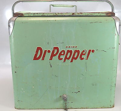 Vintage Dr. Pepper Cooler Ice Chest Rare Red Lettering FREE SHIPPING