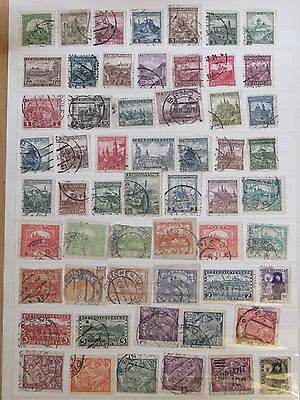 Czechoslovakia stamps collection on 12 pages from an old album