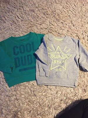 2 Pack Baby Boys Next Long Sleeved Tops Age 9-12 Months