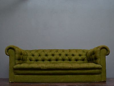Antique Vintage Retro Mid Century Green Fabric Chesterfield Sofa / Couch