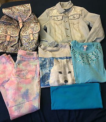 Girls Size 10/12 Justice Clothes And Backpack - Lot Of 6 Items