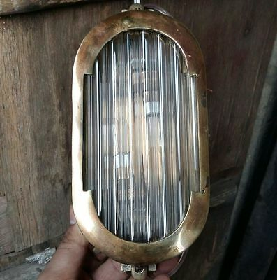 Vintage Art Deco Style Nautical Brass & Glass Rod Wall Passage Ship Light Lamp