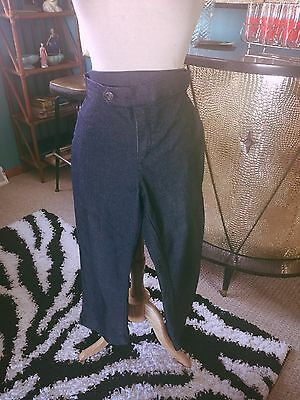 Retro Capri Pants Blue Denim Stretch Sz 9 M L VLV Rockabilly 1950s 50s