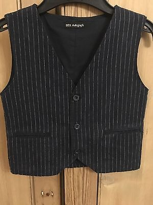 Boy's Marks & Spencer Autograph Pin Striped Navy Waistcoat Age 4-5 Years