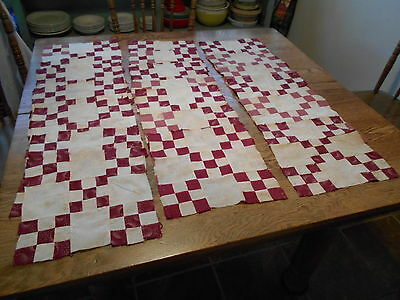 "Vintage Antique 20 Puss In The Corner Quilt Blocks H S Cotton 10""X10""  1890""s"