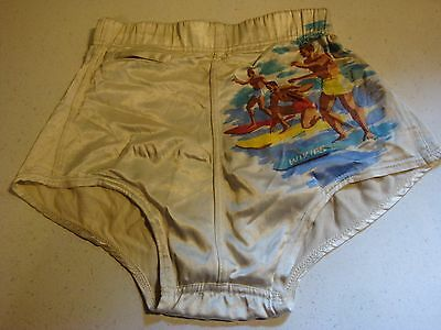 FANCY VINTAGE 40'S ? GANTNER WIKIES White SWIM TRUNKS Surfer Briefs