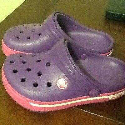 Crocs purple and pink class I  casual shoes, little girls size 1 medium
