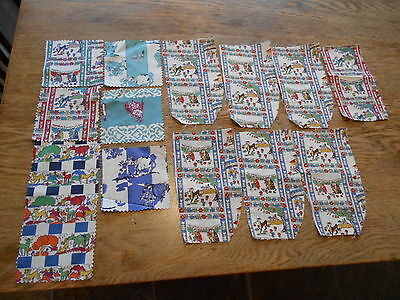 "Vintage Antique 14 Quilt Block Pieces Cotton 3 1/2X3 1/2"" 1940s Ferdinand Bull"
