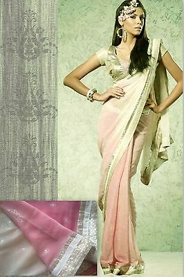 New Indian Bollywood Asian Saree Sari Gradient Pink Blouse Suit Indische Kleid
