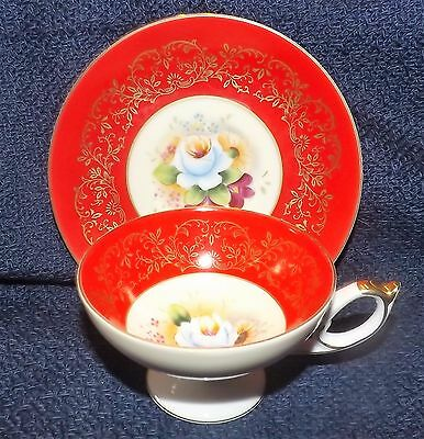 Vintage Beautiful Gold Trim Hand Painted Footed Cup and Saucer by Riviera Japan