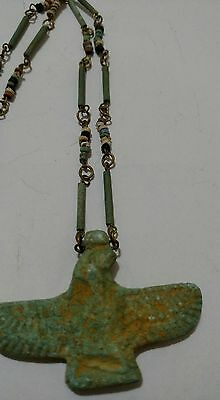 Isis goddess of Marriage & Wisdom Egyptian Terracotta Necklace Mummy Beads, 20""