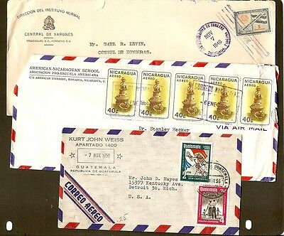 TEN OLD Central American Covers, 1929 and up. Some Air Mail.