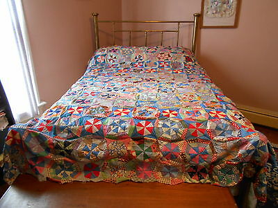 "Vintage Antique Spider Web Quilt Top Hand Stitch Cotton 73"" X 94"" 1930's 1940's"